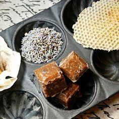 Fill a mason jar with a handful rich exfoliating Honey Lavender sugar scrub cubes.