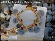 Celebrate the people in your life with jewelry from Simply Charmed. Custom hand stamped charms that allow you to keep your loved ones close to your heart! Mothers Day Presents, Hand Stamped, Birthstones, Bracelets, Shop, Gold, Jewelry, Jewlery, Birth Stones