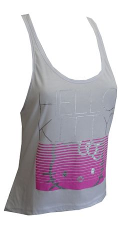 Hello Kitty Athletic Style Tank Top With Silver Foil, $15 You will love the updated styling and details on this athletic style Hello Kitty tank top for ladies. Highlights include silver foil lettering and face outline, a faux zipper on the back for added detail and a longer hem in the back than the front for updated styling. They are machine washable and easy to care for. Junior sizing.