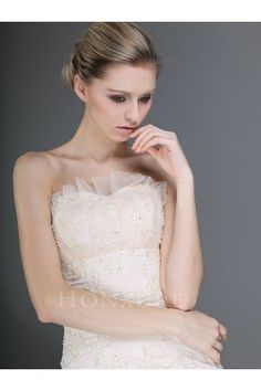 Strapless Tulle Mermaid Wedding Dress with Floral Embroidery 0113960 - Luxury Wedding Dresses - Wedding Dresses