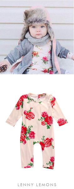Classic floral print. Full sleeves + pants, perfect to use in winter, but still great for all seasons. Silky soft polyester. Dress up or down, great for layering or wearing solo. Perfect gift. Lenny Lemons, babies and toddler apparel #lennylemons #babygirl #babyclothes #babygift #babybirthday