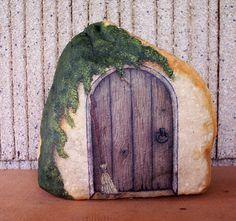 painted rock - fairy door