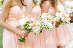 Short Strapless Peach Bridesmaid Dresses