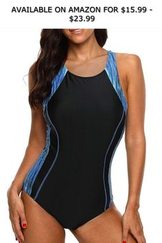 53c11de0a7650 maysoul Women Sports One Piece Swimsuits Colorblock Racerback Bathing Suits  ◇ AVAILABLE ON AMAZON FOR: