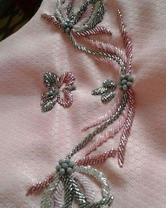 No photo description available. Hand Embroidery Dress, Embroidery Neck Designs, Tambour Embroidery, Hand Embroidery Videos, Bead Embroidery Patterns, Couture Embroidery, Hand Embroidery Stitches, Embroidery Fashion, Embroidery Jewelry