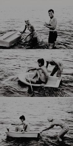 John and Jackie Kennedy have fun with a small boat at a beach, 1960.