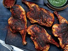 A stint in a citrus-and-herb brine keeps Oak-Grilled Chicken with Chimichurri juicy on the grill, while a smoky spice blend and a bright chimichurri sauce add layers of flavor. Get the recipe at Food & Wine. Juicy Grilled Chicken Recipe, Marinated Chicken, Chicken Chile, Spice Blends, Stuffed Whole Chicken, Fresh Lemon Juice, Charcoal Grill, Tandoori Chicken, Wine Recipes