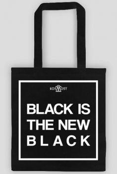 BLACK IS THE NEW BLACK - czarna ekotorba blvck w Kosmosy | black totebag tote bag ecobag | ekotorby ekotorba z napisami torba torby ekologiczne | tumblr alternative grunge|