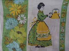 Vintage Linen Tea Towel - Lady Holding a Kettle With a Pretty Floral Design - Hand Crocheted Edges - Designed in Australia - Pure Linen