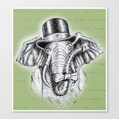 I'm+too+SASSY+for+my+hat!+Vintage+Elephant.+Stretched+Canvas+by+TheCore+-+$85.00