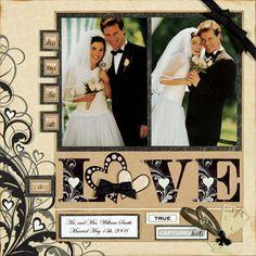 Lots of scrapbook layout ideas – Wedding Scrapbook Layout - Modernes Wedding Scrapbook Pages, Love Scrapbook, Scrapbook Sketches, Scrapbook Page Layouts, Scrapbook Paper Crafts, Scrapbook Supplies, Scrapbook Cards, Scrapbook Examples, Yearbook Layouts