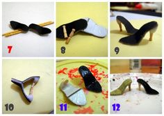Tutorial: Como hacer zapatos para muñecas escala 1/6 Barbie E Ken, Barbie Dolls Diy, Diy Barbie Clothes, Sewing Dolls, Diy Doll, Baby Doll Shoes, Barbie Shoes, Doll Shoe Patterns, Barbie Patterns