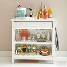 Ideas for turning any simple table into a bar cart!