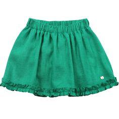 A Saia Pier Infantil Green - G4601655 traz charmosos franzidinhos aplicados na barra da saia que são tendência nos desfiles. Compre Online na Green.