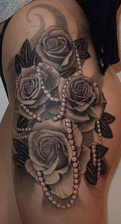 Rose with beads Tattoo