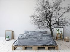 Lonely tree Scandinavian Bedroom Wall Murals Nature Pixers We live to change Forest Theme Bedrooms, Bedroom Themes, Home Decor Bedroom, Woodsy Bedroom, Japanese Bedroom Decor, Forest Bedroom, Bedroom Ideas, Apartment Walls, Modern Master Bedroom