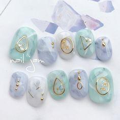 25 Marmornagel Design mit Wasser & Nagellack 2 - Trending Marble Nails - in 2020 Marble Nail Designs, Marble Nail Art, Gel Nail Art, Nail Art Designs, Nail Polish, Korean Nail Art, Korean Nails, Japanese Nail Design, Japanese Nails