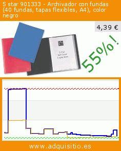 5 star 901333 - Archivador con fundas (40 fundas, tapas flexibles, A4), color negro (Productos de oficina). Baja 55%! Precio actual 4,39 €, el precio anterior fue de 9,70 €. https://www.adquisitio.es/5-star/901333-archivador-fundas