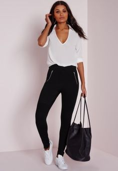 Biker Detail Ponte Pull On Leggings Black