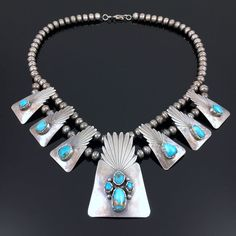 NATIVE AMERICAN NAVAJO STERLING SILVER & FOX TURQUOISE NECKLACE by RAY DELGARITO | Jewelry & Watches, Ethnic, Regional & Tribal, Native American | eBay!