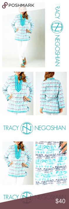 """🐘🐳Elephant Print Abby Tunic🐳🐘 Tracy Negoshian Abby Tunic  NWT Size XL Color Turquoise, Black and White   Beautiful lightweight tunic that would look great with shorts, jeans or as a cover-up.  Fits true to size  Cotton Voile (100% cotton).   🔴Mannequin's measurements  📌Chest 39"""" 📌Waist 33"""" 📌Hips 40 1/2""""  💰Bundle Your Likes for a Private Discounted Offer💰 🌸reasonable offers accepted🌸  🐾pet friendlly home🐾 🚫no trades🚫 Tracy Negoshian Tops Tunics"""