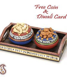 Buy Set of 2 Hand painted Terracotta Pots with Dry fruits and Tray diwali-dry-fruit online