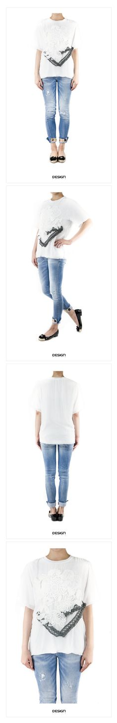 KOREA--網雕花雙色毛線設計上衣