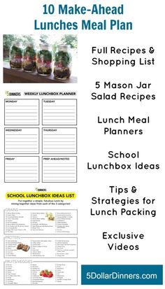 10 Make Ahead Lunches Meal Plan