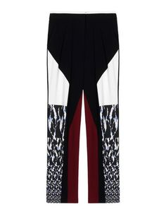 Crêpe Multicolour Pattern High waisted Zip Hook-and-eye closure Darts Pleated detailing Two pockets Crêpe.
