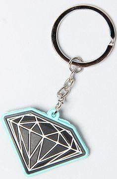 Diamond Supply Co The Rubber Brilliant Key Chain In Diamond Blue Black Diamond Logo Key Chain