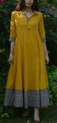 Mustard Flared Maxi with multi-color border Salwar Designs, Kurta Designs Women, Kurti Designs Party Wear, Long Kurta Designs, New Kurti Designs, Party Wear Kurtis, Dress Neck Designs, Designs For Dresses, Pakistani Dresses