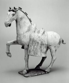 Tomb sculpture representing a saddled horse, Chinese, Tang dynasty, about 8th century A.D.