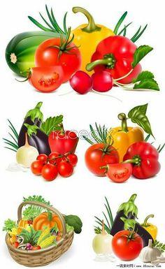 Verduras Veggie Images, Vegetable Pictures, Vegetable Basket, Food Clipart, Fruits Images, Fruit Art, Fruit And Veg, Food Illustrations, Stuffed Green Peppers