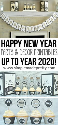 I love these Happy New Year Party banner and printables ideas! I'm using these New Year's Party printables for my home decor in 2018, 2019, and 2020! She has printable lanterns to use as a New Year sign and cupcake wrappers and toppers. This is a great idea to keep New Year low key if you have kids.  via @SMPblog