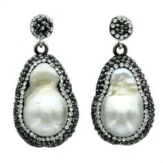Sterling Silver Baroque Pearl Black & White Crystal Drop Earrings - Fire & Ice #jewelry
