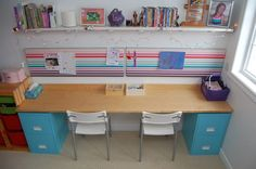 Child's desk and crafting area DIY from @NorthStoryCA ... by DIY Filing Cabinet Desk (2) found for you by @Margarita Ibbott ~ @DownshiftingPRO