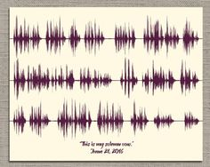 Your Wedding Vows - Paper First Anniversary Gift - Artsy Voiceprint ™ provides personalized soundwave art for anniversaries, weddings, & many more special events. Turn your favorite song or baby's heartbeat into unique custom artwork! First Anniversary Paper, 10 Year Anniversary Gift, Anniversary Gifts For Husband, Wedding Vow Art, Wedding Things, Christmas Gifts For Him, Wave Art, Sound Waves, Paper Gifts