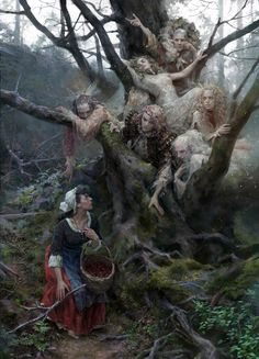 """Fairies and the Peasant Girl"" by Yuliya Litvinova : Fantasy Dark Fantasy Art, Fantasy Artwork, Arte Horror, Horror Art, Art Sinistre, Arte Obscura, Fairytale Art, Fairytale Quotes, 3d Drawings"