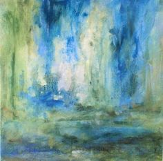 Spring Rain is and abstract nature art acrylic painting in the various hues of greens blues and whites. The fluid flow of this abstract nature art acrylic painting is serene  bliss. I painted it in shades of creams and brilliant blue with dashes  of leafy lime greens and navy blue layers blended subtly. This is my  version of what spring is with rain showers and waterfalls bringing  forth the crisp green of grasses and leaves. This painting is titled  'Spring' hand painted by Laurie Rohner…