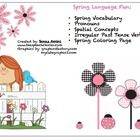 FREE! •  Spring Vocabulary •  Pronouns •  Spatial Concepts •  Irregular Past Tense Verbs  •  Spring Coloring Page ...