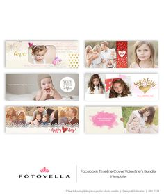 Valentine's Day Facebook Timeline Cover Templates by FOTOVELLA. Six piece bundle. Featured images from © Sandra Bianco Photography and © Jenny Cruger Photography