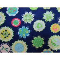 This cotton fabric features a mandala print, with animals including koi…. Quilting Projects, Craft Projects, Mandala Print, Navy Background, Dance Dresses, Event Decor, Koi, Bag Accessories, Cotton Fabric