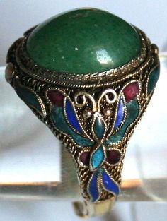 ANTIQUE ART DECO SILVER GOLD PL JADE FILIGREE BUTTERFLY ENAMEL FINE CHINESE RING