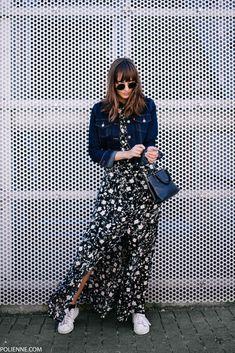 POLIENNE   wearing a BERSHKA maxi dress, LEVI'S customized denim jacket, COACH bag & ADIDAS sneakers