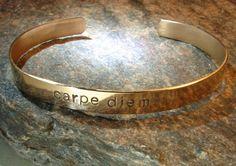 Carpe Diem bronze cuff bracelet