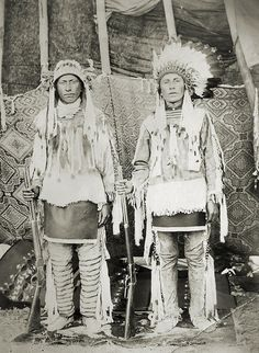 Blue Shield and Two Kill, Assiniboine Indians - Blue Shield was born in 1873 and Two Kill was born in 1872. The photo taken at Fort Belknap, Montana in 1899.