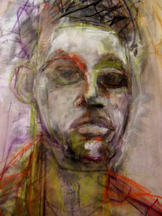 close up of canvas in progress by Kat Ostrow > pastel, Charcoal and acrylic on canvas