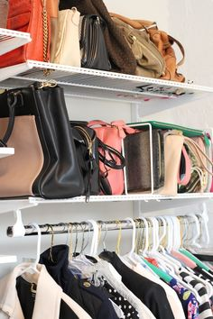 use a divider to stack your clutches next to your purses for easy access