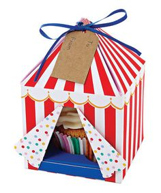 Big impact: Big Top circus tent cupcake boxes! Wonder if we could figure out a DIY? #birthday #circus
