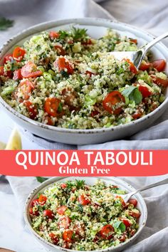 Quinoa Tabouli - Vegan and Gluten-Free- Quinoa Tabouli is my Gluten-Free twist on a classic dish. This vegan recipe is packed full of flavour, and is so simple to make. A healthy lunch or tasty side-dish. Quinoa Tabouli – Vegan and Gluten-Free Vegan Recipes Videos, Easy Healthy Recipes, Whole Food Recipes, Medeteranian Recipes, Gluten Free Recipes Side Dishes, Salad Recipes Gluten Free, Health Recipes, Comidas Light, Whole Foods